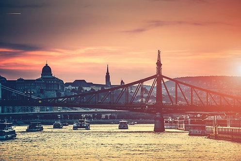 Вечерний вид на Будапешт и мост