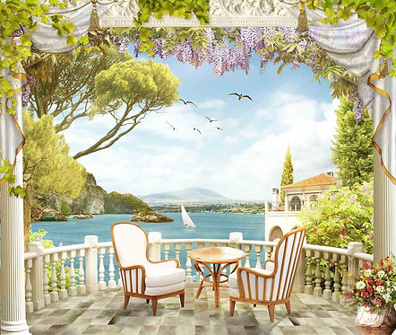 Вид с балкона на море и побережье