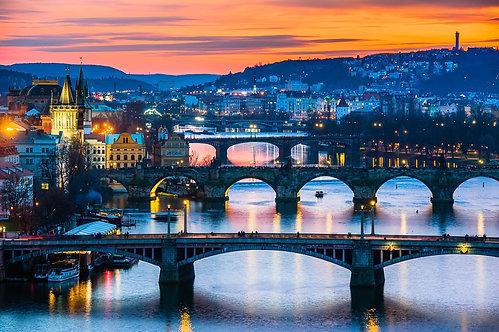 Вид зимней Праги