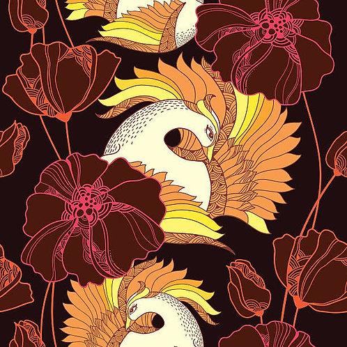 Фон с мифологическими жар-птицами и цветами