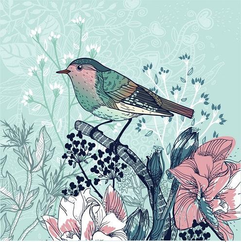 Маленькая птица и цветы
