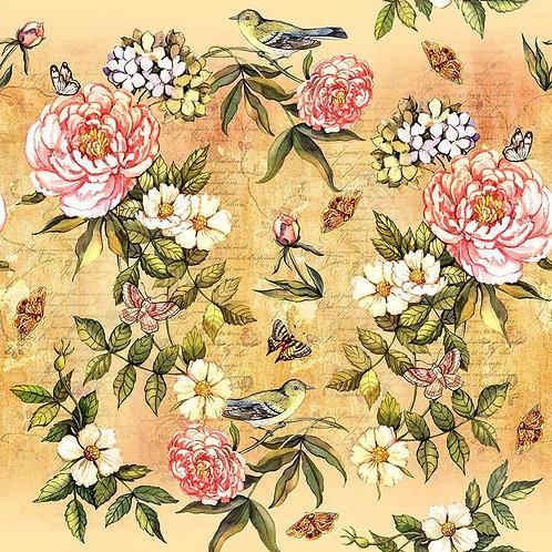 Винтажный акварельный фон с цветами и птицами