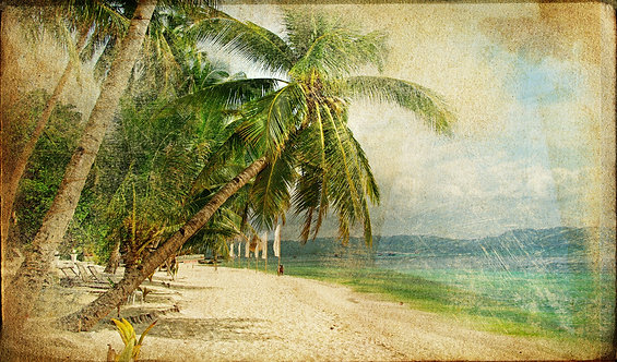 Тропический пляж в стиле ретро