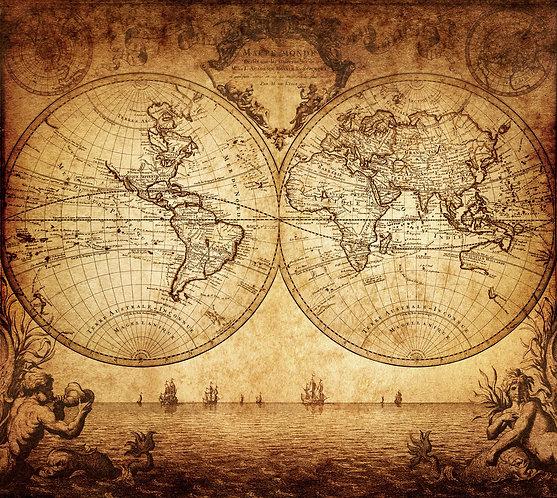 Старинная карта мира с двумя полушариями