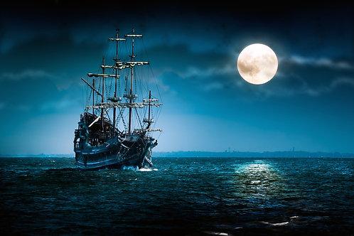 Пиратский корабль в лунную ночь