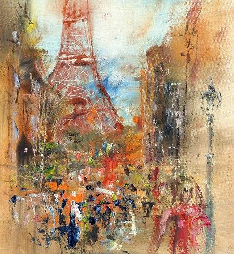 Улица в Париже  - иллюстрация маслом