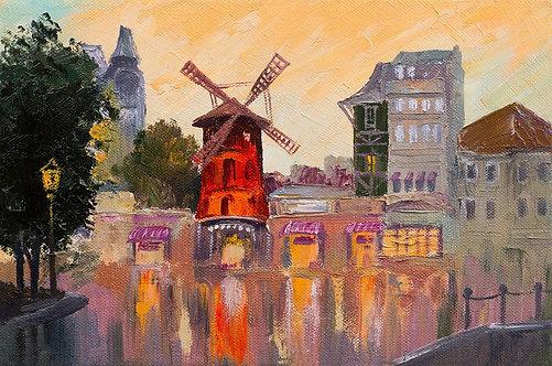 Городской пейзаж с Мулен Руж в Париже - живопись маслом