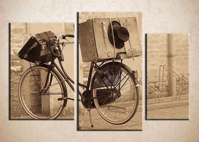 """Модульная картина """"Старинный велосипед в ретро-стиле"""""""