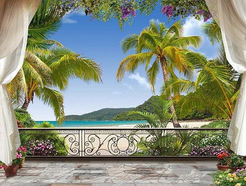 Вид с террасы на море и пляж с пальмами