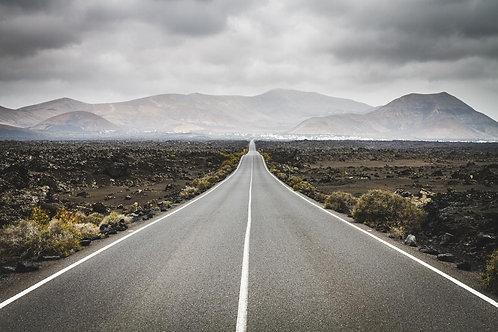 Фотообои. Фрески. Картины. Пустыня. Дорога. Горы. Природа. Пейзаж. Перспектива