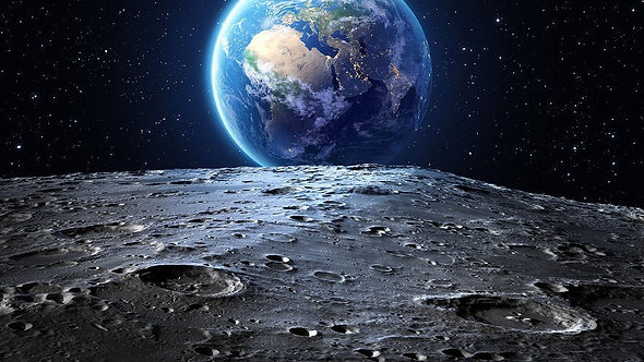 Фотообои. Фрески. Картины. Космос. Луна. Вид на Землю. Лунная поверхность
