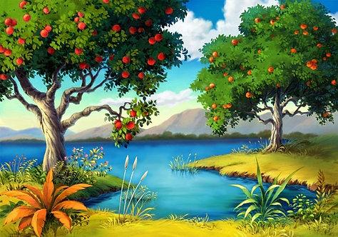 Фотообои. Фрески. Картины. Фруктовое дерево. Озеро. Природа и пейзажи