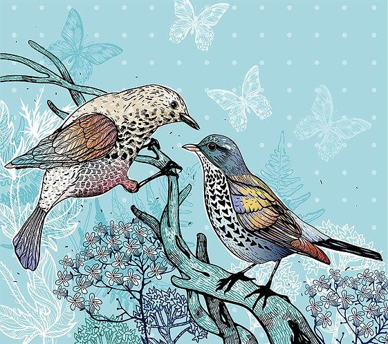 Две лесные птицы и цветущие растения