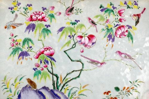 Азиатская традиционная картина. Птицы и цветы