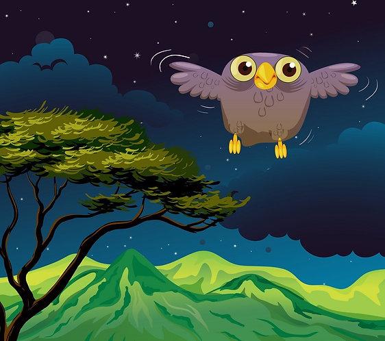 Мультяшная сова летит в ночи