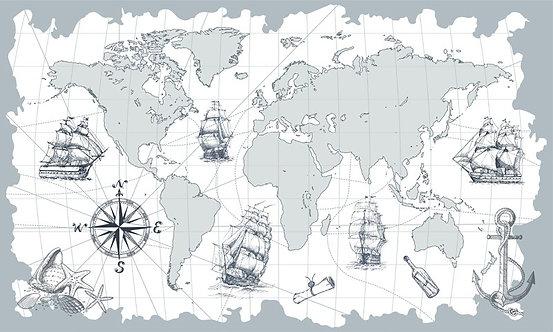 Детские обои. Карта. Море. Корабли