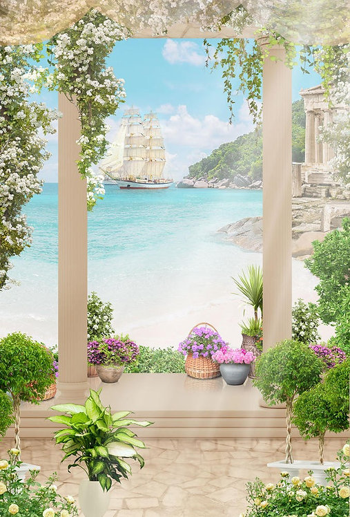 Фотообои. Фрески. Картины. Терраса. Цветы. Колонны. Вид на море. Морской пейзаж