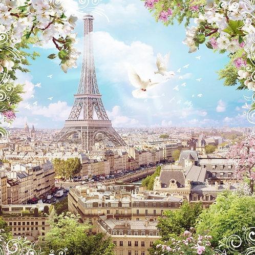 Фреска. Вид на город. Цветы. Голуби. Эйфелева башня. Париж