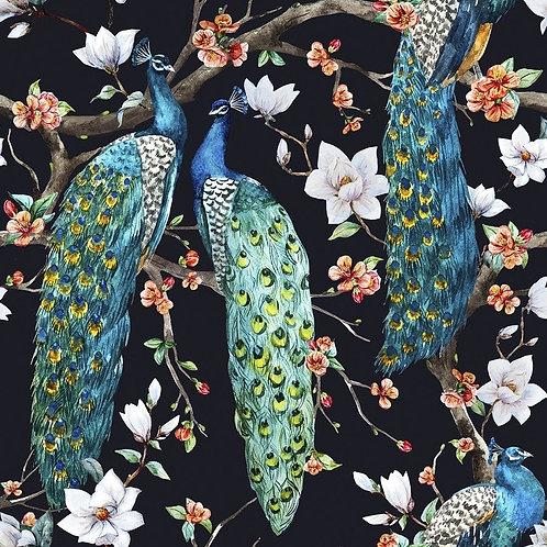 Павлин с цветущими вишневыми деревьями и белыми цветами магнолии
