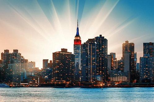 Вид на Манхэттен на закате - Нью-Йорк