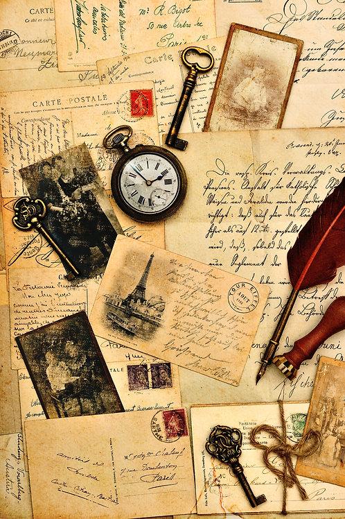 Старые открытки, письма и фотографии. Винтажный фон