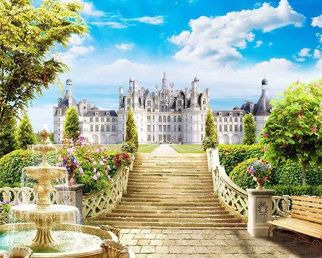 Фотообои. Фрески. Картины. Цветущий сад. Замок. Фонтан. Каменная лестница