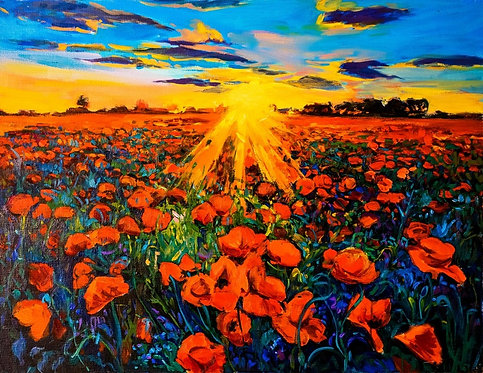 Живопись маслом с маковым полем и закатом в стиле импрессионизма