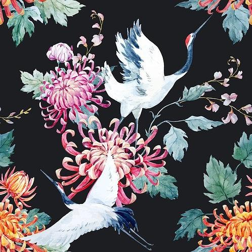 Белые журавли и хризантемы. Акварель