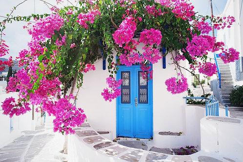 Традиционный греческий дом с цветами на острове Парос