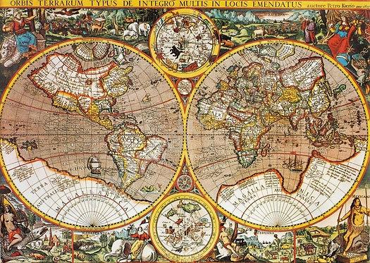 Старинная цветная карта мира с полушариями