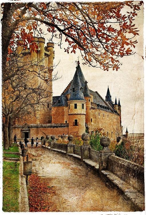 Замок Алькасар в стиле средневековой испанской росписи
