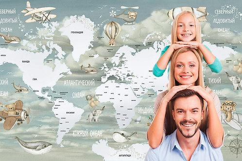 Фотообои. Карта для детей. Коллекция FUN FLIGHT
