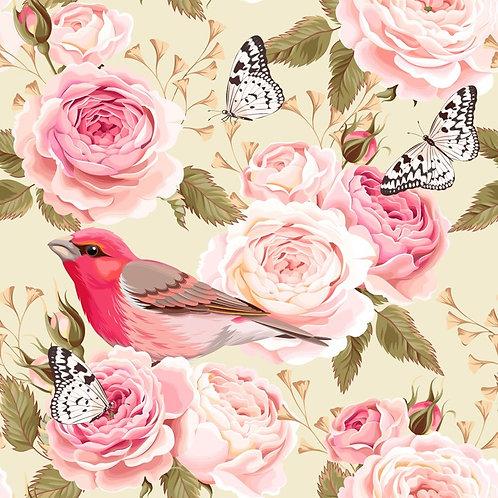 Розы с птицей и бабочками