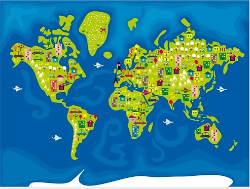 Детская карта мира с рисунками