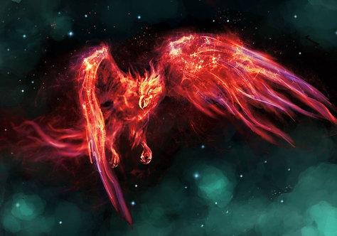 Пылающий Феникс в звездном небе