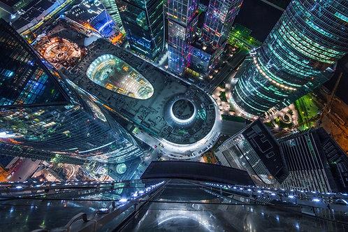 Вид с небоскреба Москва-сити сверху вниз