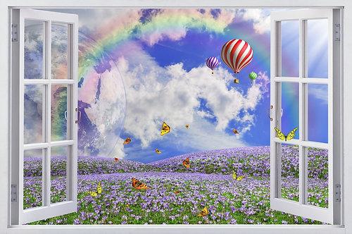 Вид из окна на радугу и воздушные шары над цветочным полем