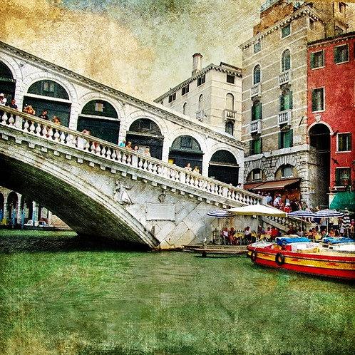 Венеция в живописном стиле и мост Риальто
