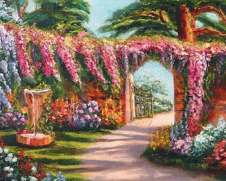 Фотообои. Фрески. Картины. Цветущий сад. Патио. Фонтан. Дорожка. Калитка