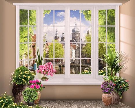 Фреска. Терраса. Цветы. Вид из окна на старинный город
