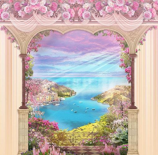 Фреска. Арка с розовыми цветами. Вид на море