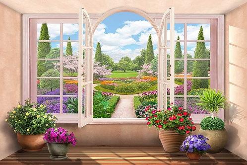 Фреска. Цветы. Распахнутое арочное окно. Вид на цветущий парк