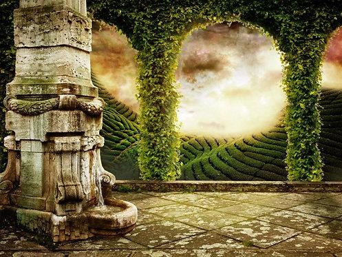 Вид с террасы фэнтезийного  замка на мистический пейзаж