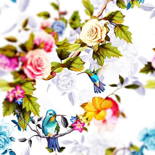 Птицы с розами и пионами. Акварель