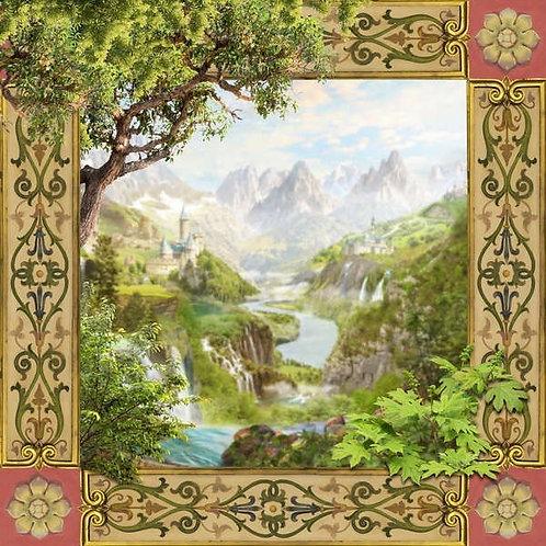 Фотообои. Фрески. Картины. Горы. Водопады. Природа. Пейзаж. Орнамент