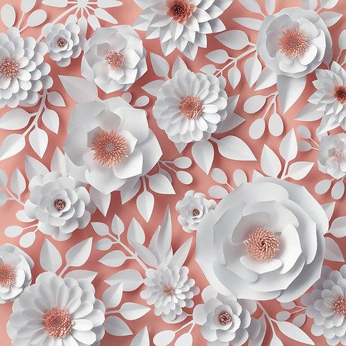 Белые бумажные цветы пионов на розовом фоне