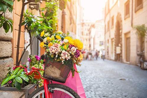 Велосипед с цветами на старой улице в Италии