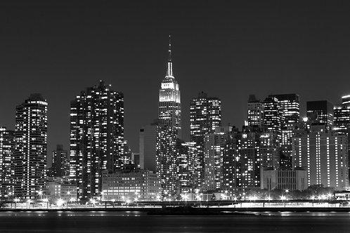Вид на ночные огни Манхэттена - Нью-Йорк