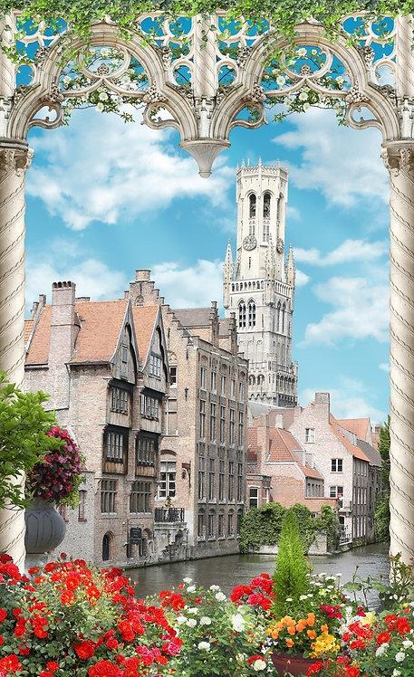 Фреска. Арки. Цветы. Город Брюгге. Бельгия