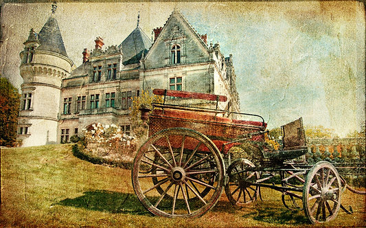 Повозка на фоне средневекового замка в винтажном стиле